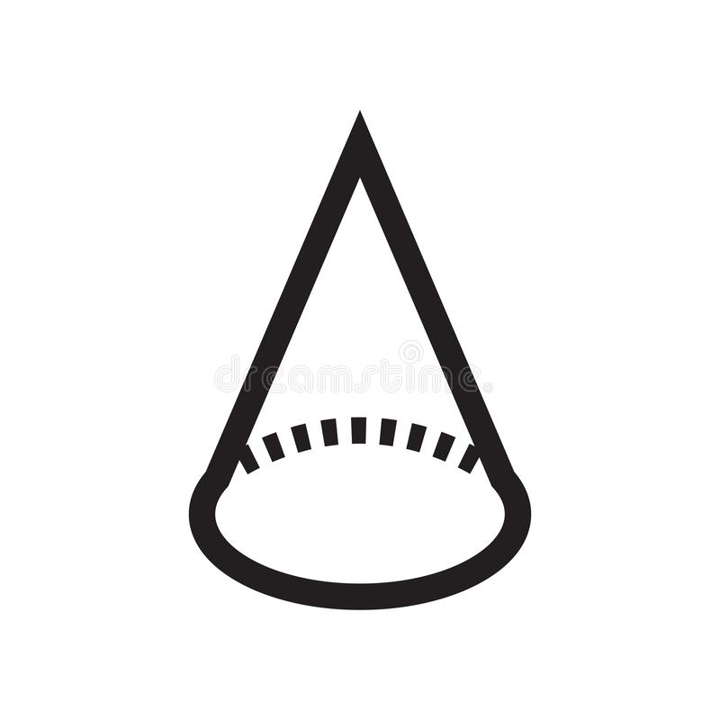 Cone geometrical shape icon vector sign and symbol isolated on white background, Cone geometrical shape logo concept. Cone geometrical shape icon vector isolated royalty free illustration