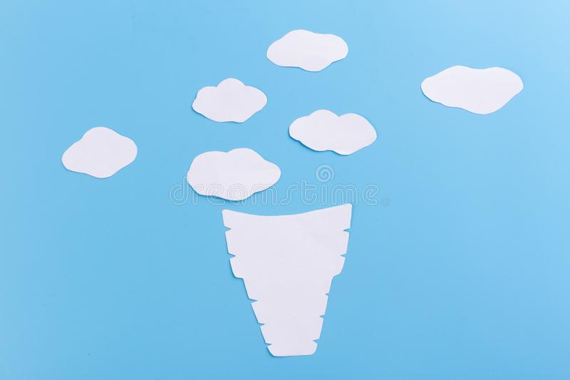 Cone with icecream. On the blue background royalty free stock image