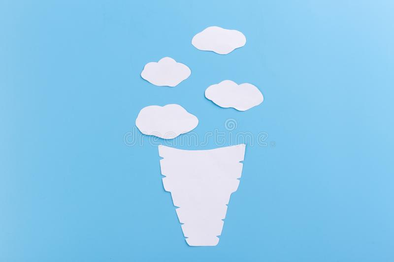 Cone with icecream. On the blue background stock photo