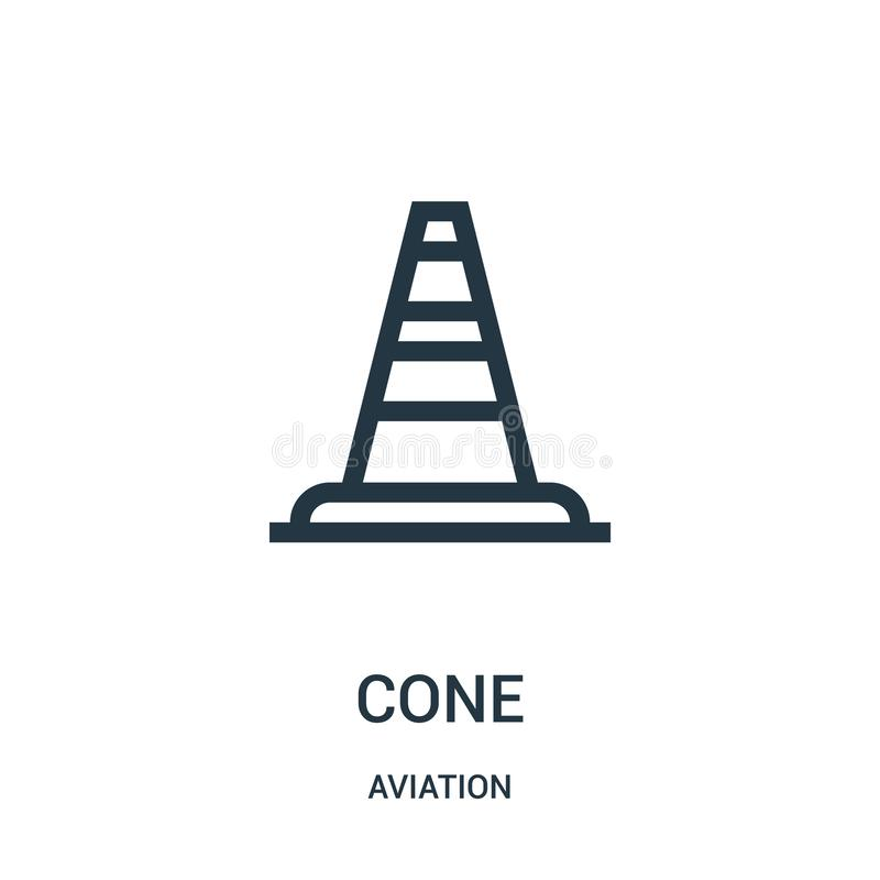 Cone icon vector from aviation collection. Thin line cone outline icon vector illustration. Linear symbol for use on web and. Mobile apps, logo, print media vector illustration