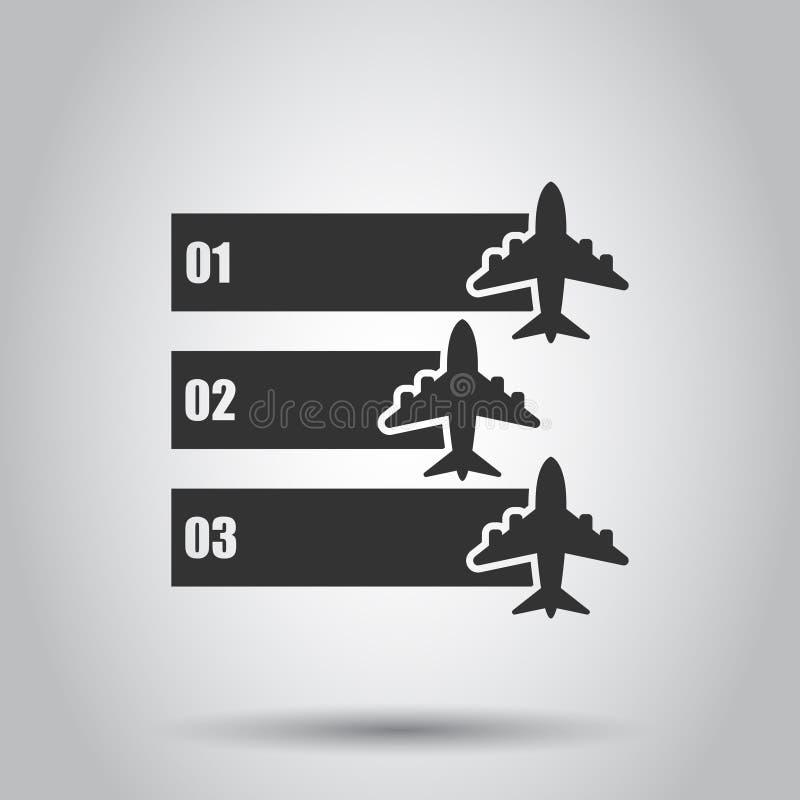 ?cone infographic do voo do avi?o no estilo transparente Ilustra??o plana do vetor da bandeira do curso no fundo isolado airline ilustração do vetor