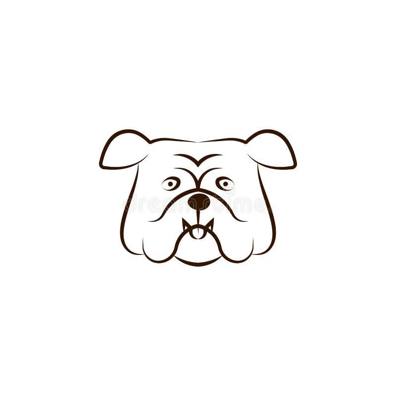 ?cone ingl?s do buldogue Uma das raças do cão entrega o ícone da tração ilustração do vetor