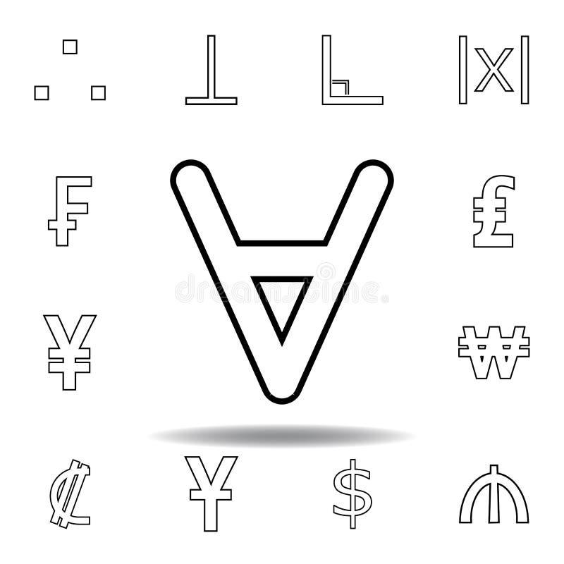 ?cone invertido da letra A Linha fina ícones ajustados para o projeto do Web site e o desenvolvimento, desenvolvimento do app ?co ilustração do vetor