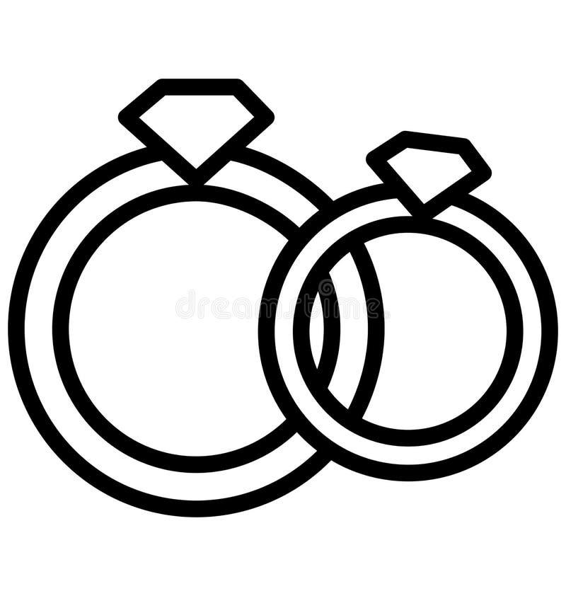 ?cone isolado anel do vetor dos an?is que pode facilmente ser alterado ou editado ilustração stock