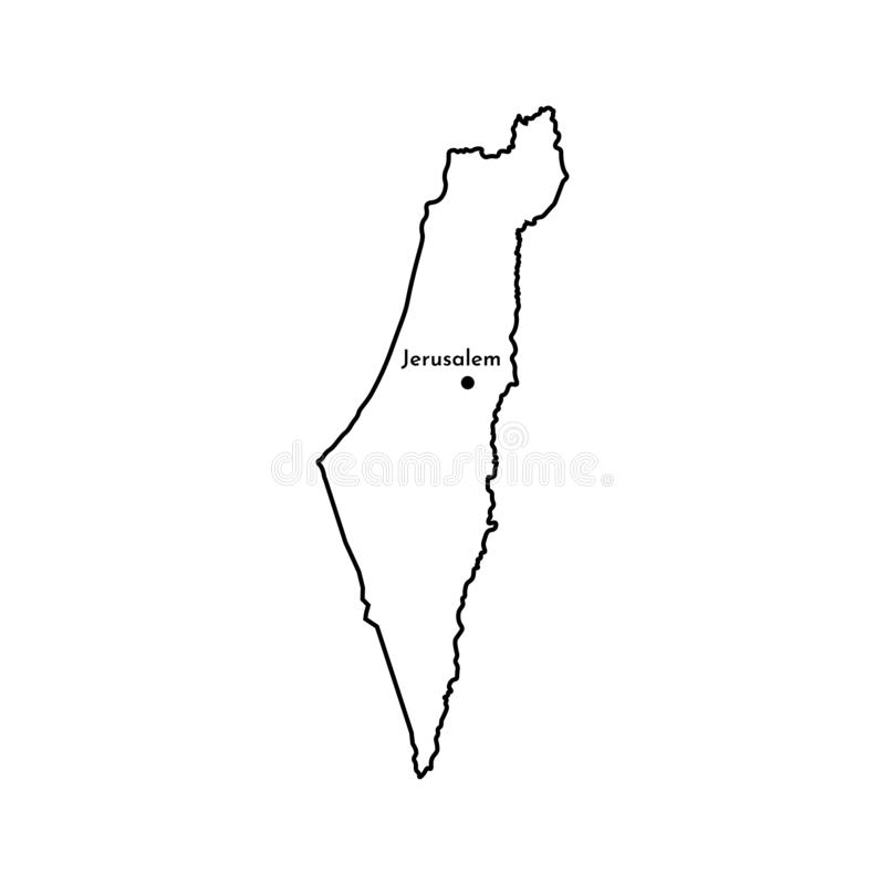 ?cone isolado vetor da ilustra??o com o mapa simplificado do estado de Israel Linha preta silhueta ilustração royalty free