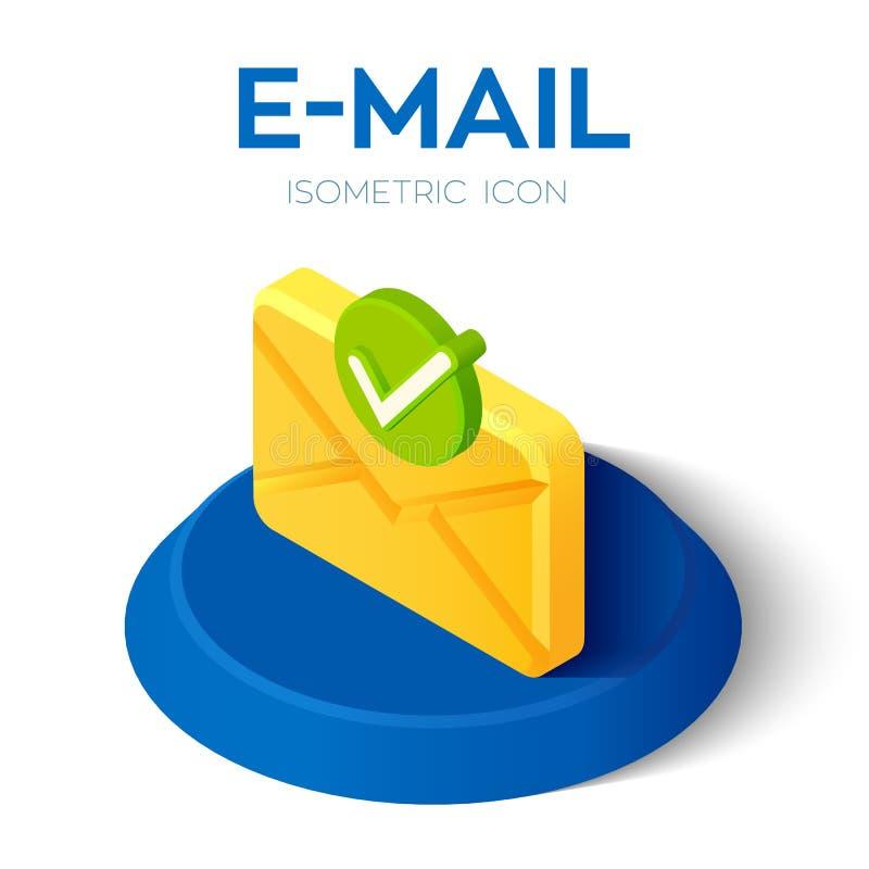 ?cone isom?trico do e-mail com s?mbolo aceitado ?cone isom?trico do e-mail 3D com sinal aprovado ?cone do tiquetaque S?mbolo de v ilustração stock