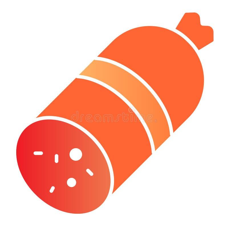 ?cone liso da salsicha Ícones da cor da carne no estilo liso na moda Projeto do estilo do inclinação do salame, projetado para a  ilustração do vetor