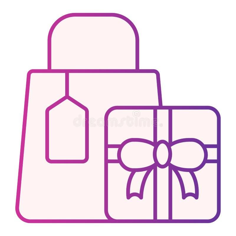 ?cone liso de compra do pacote Ícones roxos dos presentes da compra no estilo liso na moda Projeto do estilo do inclina??o dos pr ilustração do vetor