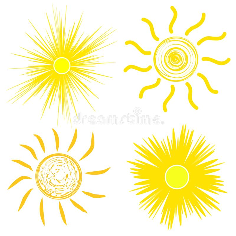 ?cone liso de Sun Pictograma de Sun S?mbolo na moda do ver?o do vetor para o projeto do Web site, bot?o da Web, app m?vel ilustra ilustração royalty free