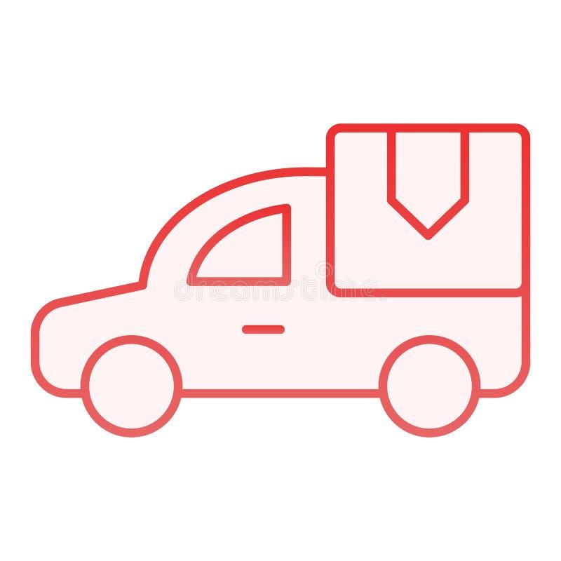 ?cone liso do carro de entrega Ícones vermelhos do caminhão de entrega no estilo liso na moda Van com o projeto do estilo do incl ilustração stock
