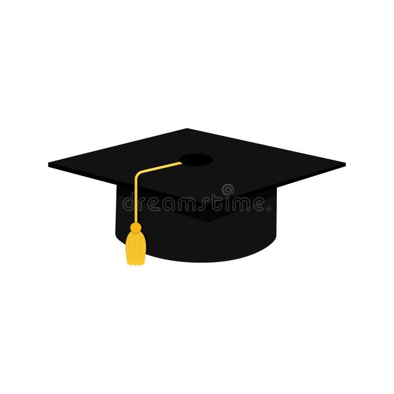 ?cone liso do projeto do tamp?o da gradua??o Símbolo da educação do revestimento Elemento do dia de Graduational Isolado no fundo ilustração royalty free