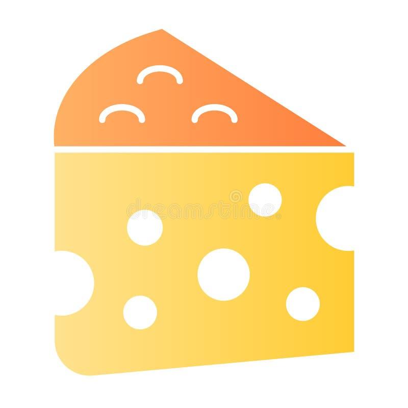 ?cone liso do queijo Ícones da cor de alimento do leite no estilo liso na moda Projeto do estilo do inclinação do queijo Cheddar, ilustração stock