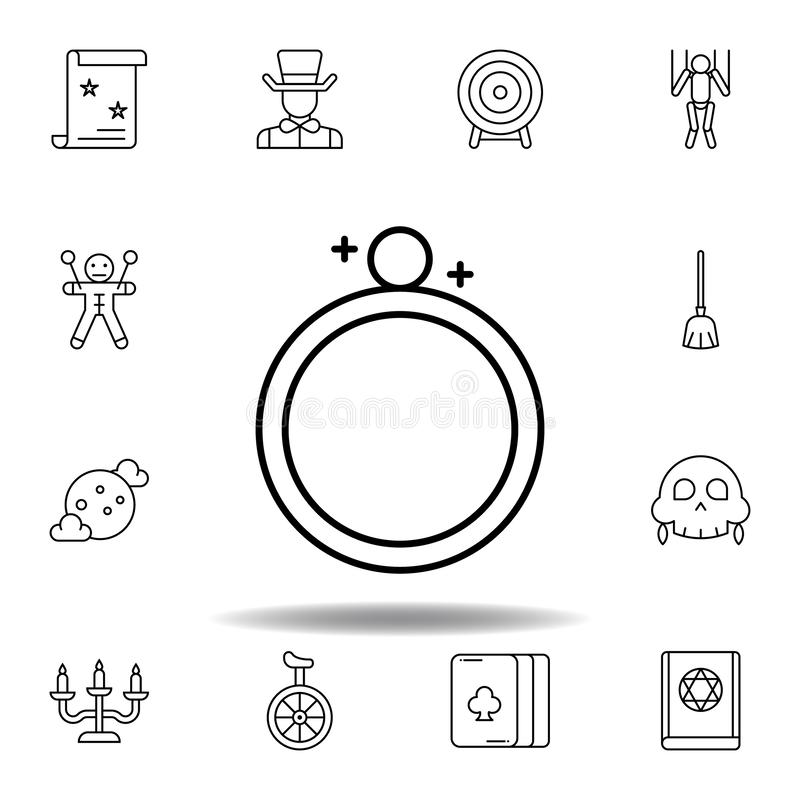 ?cone m?gico do esbo?o do anel elementos da linha mágica ícone da ilustração os sinais, símbolos podem ser usados para a Web, log ilustração stock