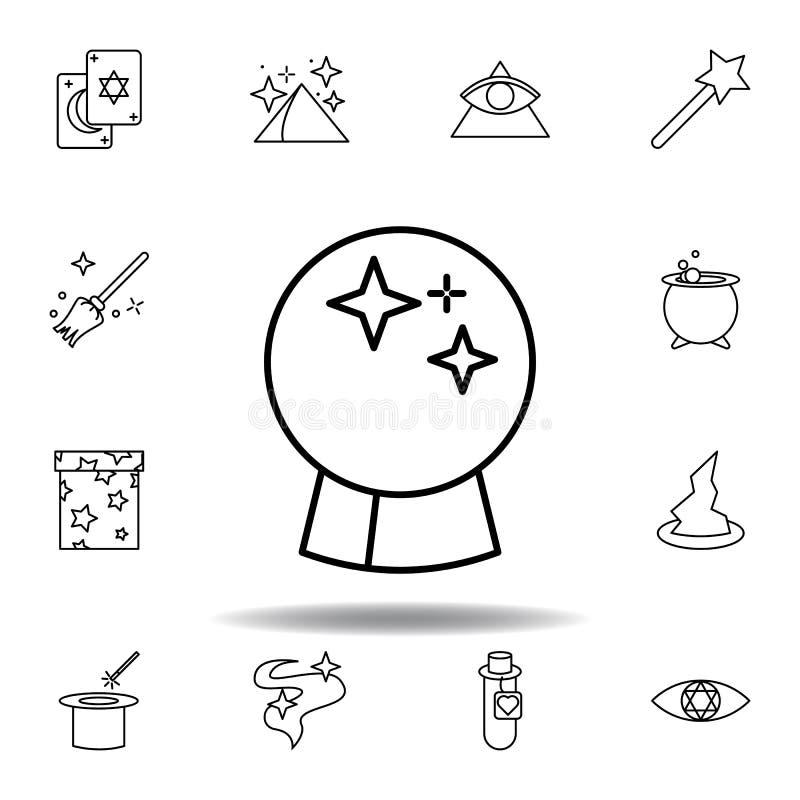 ?cone m?gico do esbo?o da bola do Dia das Bruxas elementos da linha mágica ícone da ilustração os sinais, símbolos podem ser usad ilustração royalty free