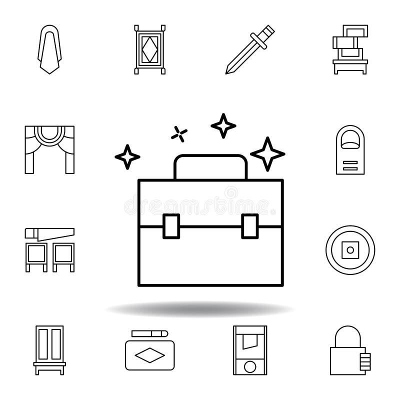 ?cone m?gico do esbo?o da mala de viagem elementos da linha mágica ícone da ilustração os sinais, símbolos podem ser usados para  ilustração royalty free