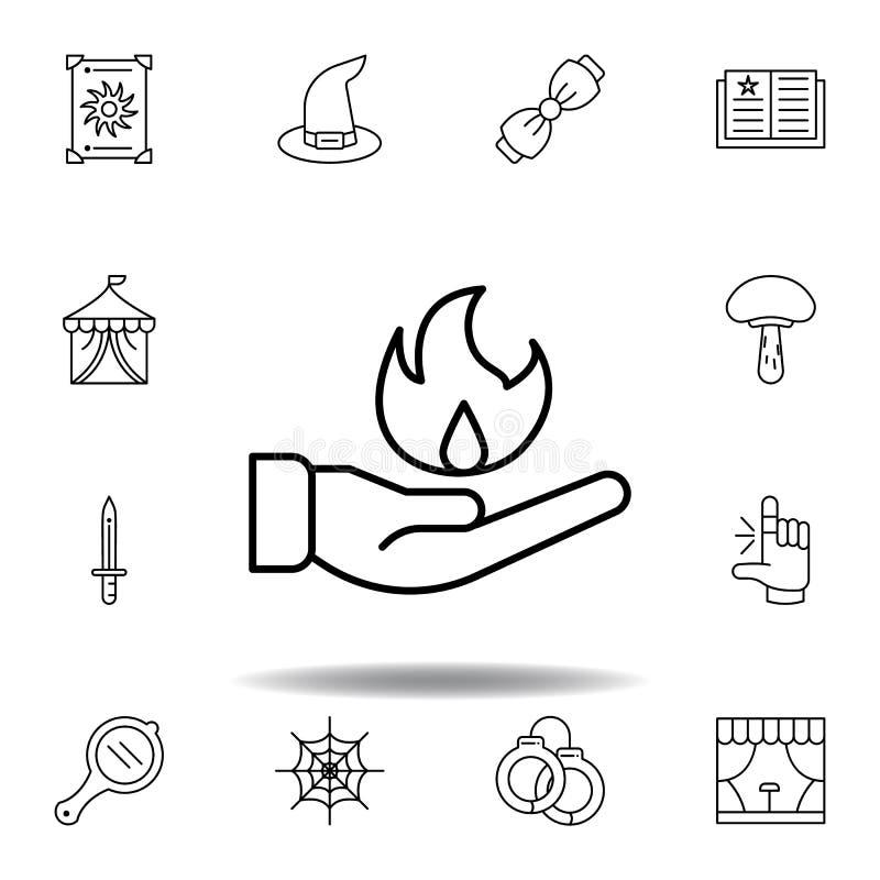 ?cone m?gico do esbo?o do fogo ? disposi??o elementos da linha mágica ícone da ilustração os sinais, símbolos podem ser usados pa ilustração do vetor