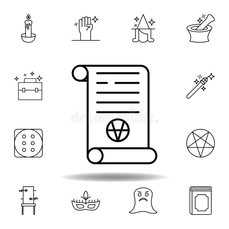?cone m?gico do esbo?o do rolo da arte elementos da linha mágica ícone da ilustração os sinais, símbolos podem ser usados para a  ilustração do vetor