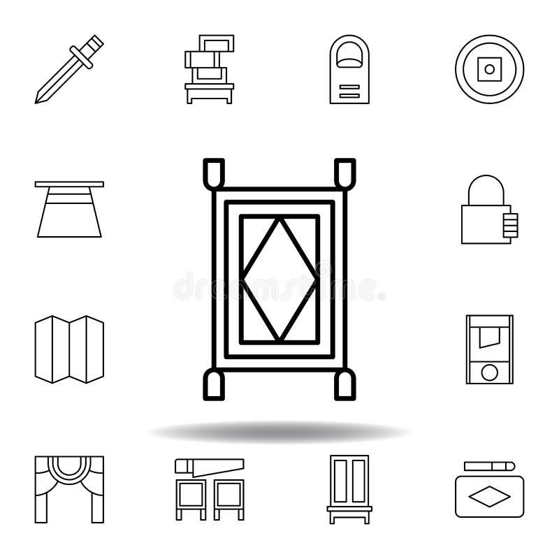 ?cone m?gico do esbo?o do tapete elementos da linha mágica ícone da ilustração os sinais, símbolos podem ser usados para a Web, l ilustração do vetor