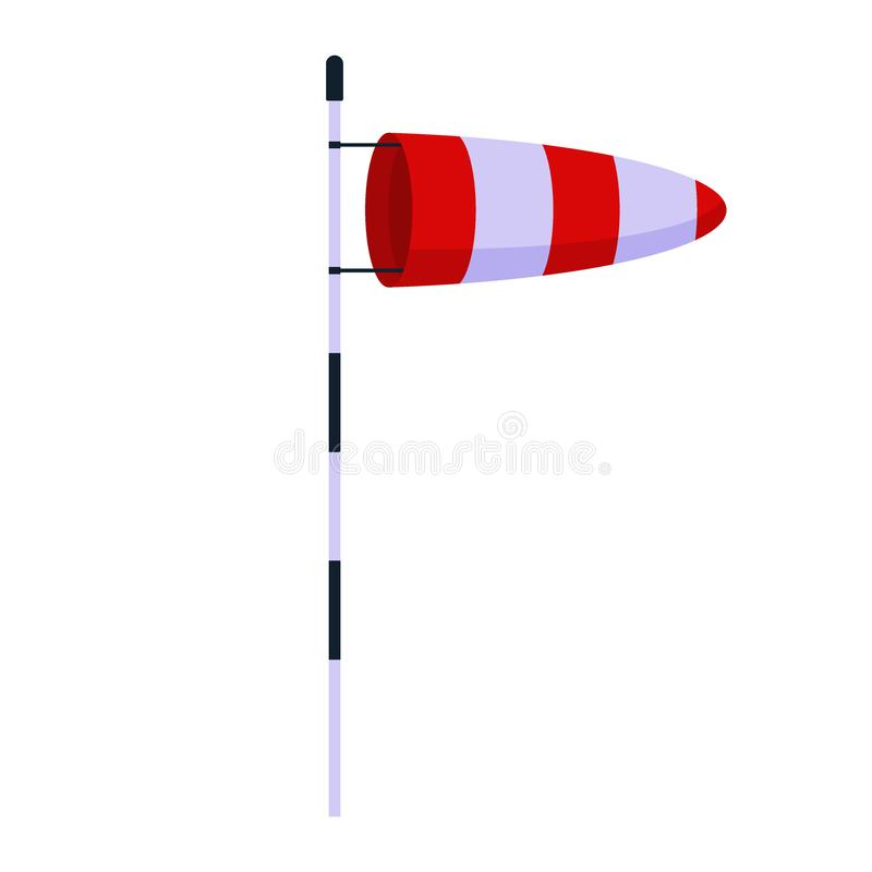 Cone meteorology windsock wind vane isolated on white background. Red and white striped wind gauge indicator. Vector vector illustration