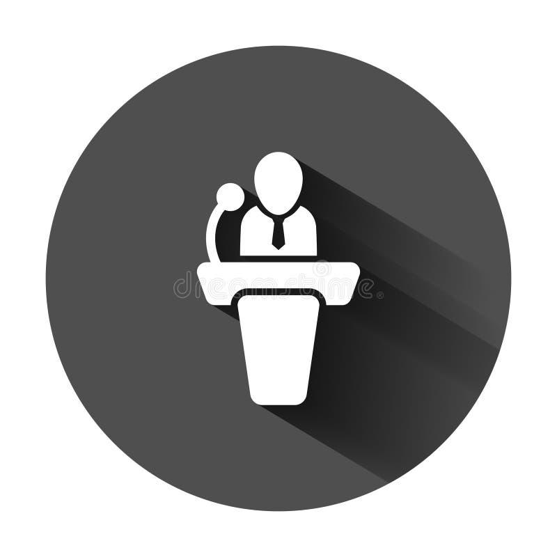?cone p?blico do discurso no estilo liso Ilustração do vetor da conferência do pódio no fundo redondo preto com sombra longa Deba ilustração royalty free