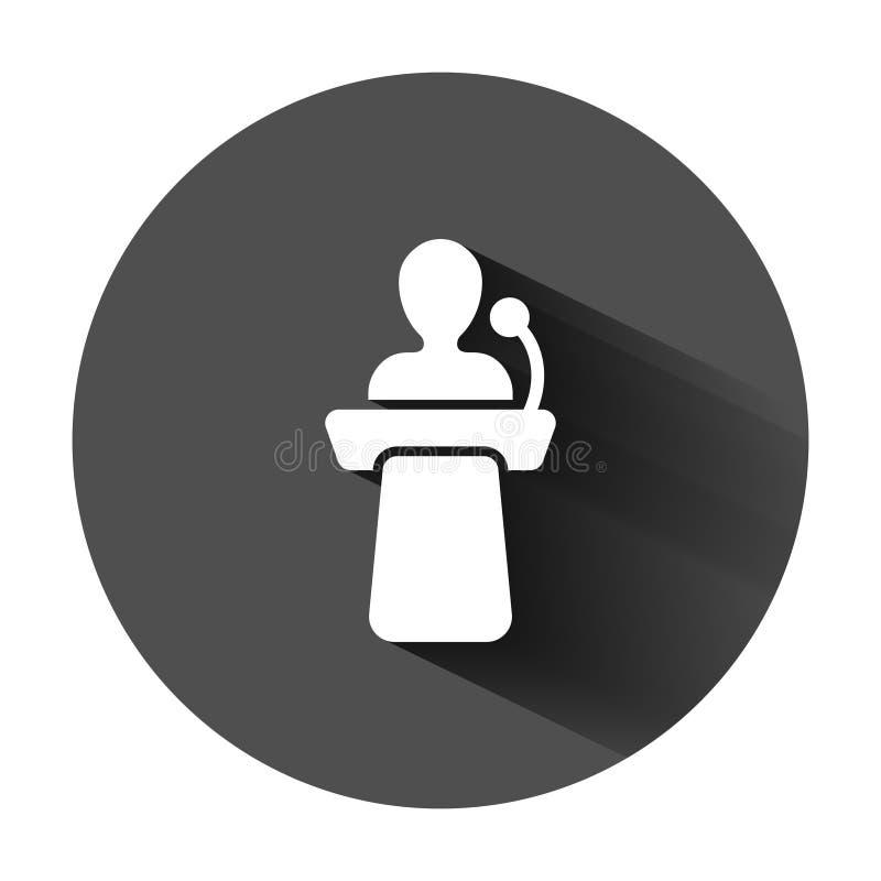 ?cone p?blico do discurso no estilo liso Ilustração do vetor da conferência do pódio no fundo redondo preto com sombra longa Deba ilustração stock