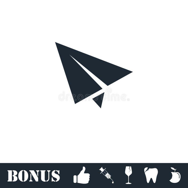 ?cone plano de papel horizontalmente ilustração stock