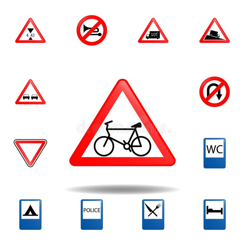 ?cone prohibitied ciclo ajuste do ícone dos sinais de estrada para apps móveis do conceito e da Web o ícone prohibitied ciclo col ilustração royalty free