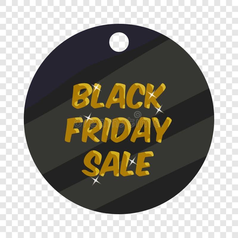 ?cone redondo da venda de sexta-feira do preto da etiqueta, estilo dos desenhos animados ilustração stock