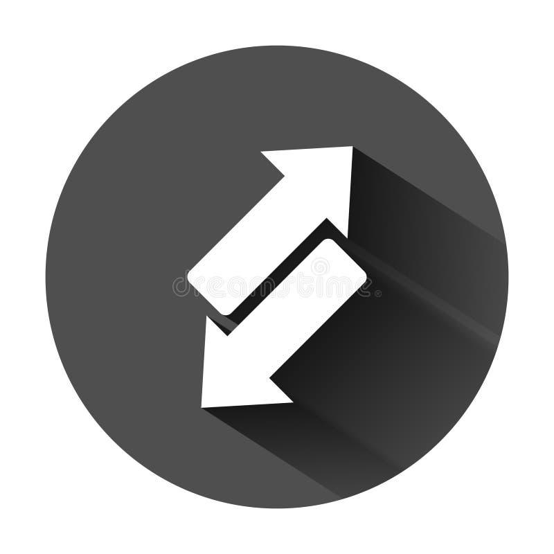 ?cone reverso do sinal da seta no estilo liso Refresque a ilustra??o do vetor no fundo redondo preto com sombra longa Recarregue  ilustração do vetor