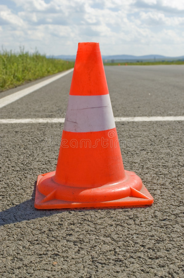 Cone on a road. royalty free stock photo