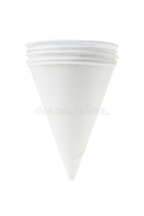 Cone shape disposable paper cups royalty free stock image