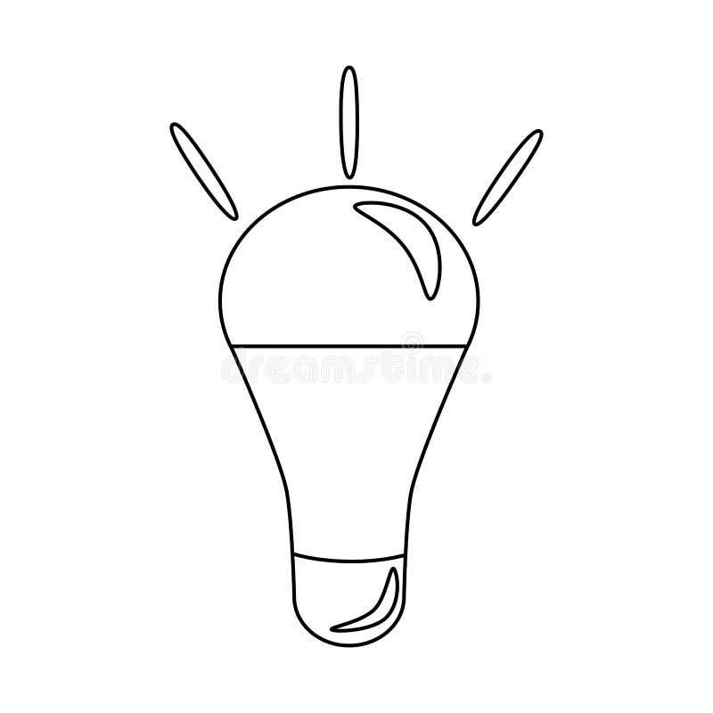 ?cone simples da ampola S?mbolo da energia e da ideia Logotipo do ?cone da l?mpada ilustração royalty free