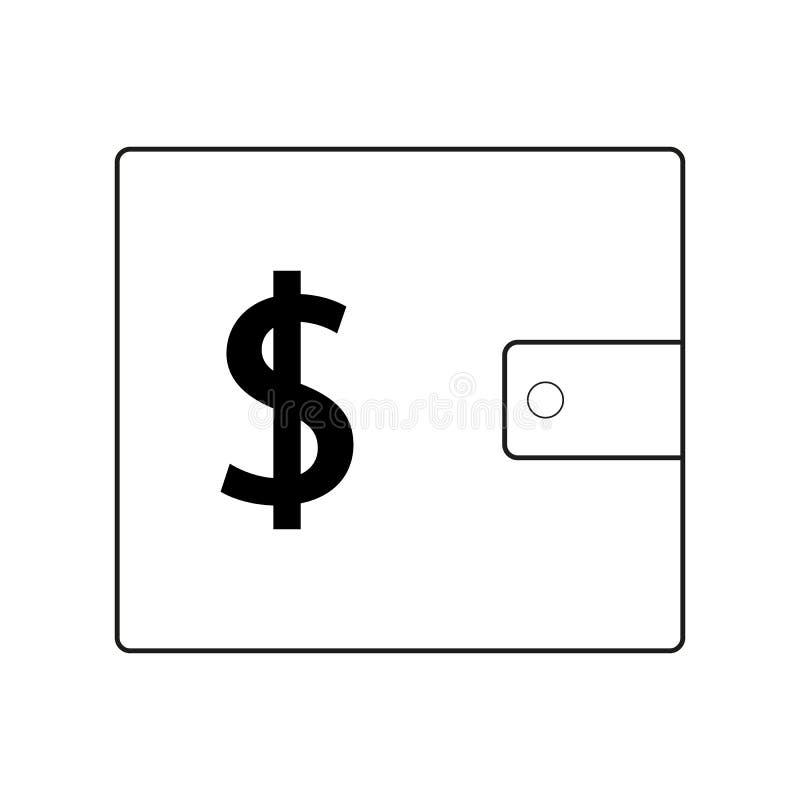 ?cone simples da carteira da compra Sinal de d?lar S?mbolo do bolso do dinheiro de USD Elementos do projeto da qualidade Estilo c ilustração royalty free