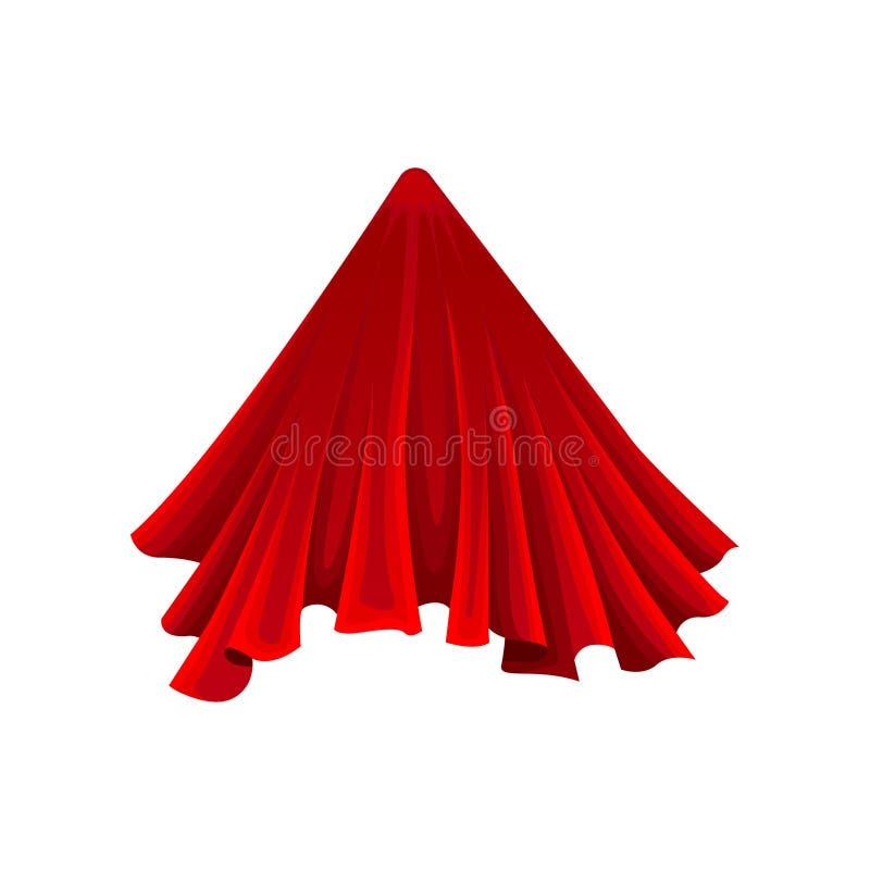 Cone sob o pano de seda vermelho no fundo branco ilustração stock