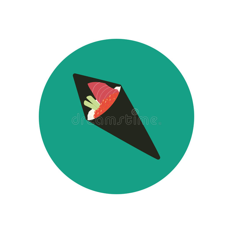 Cone sushi roll with tuna and caviar. Vector illustration vector illustration