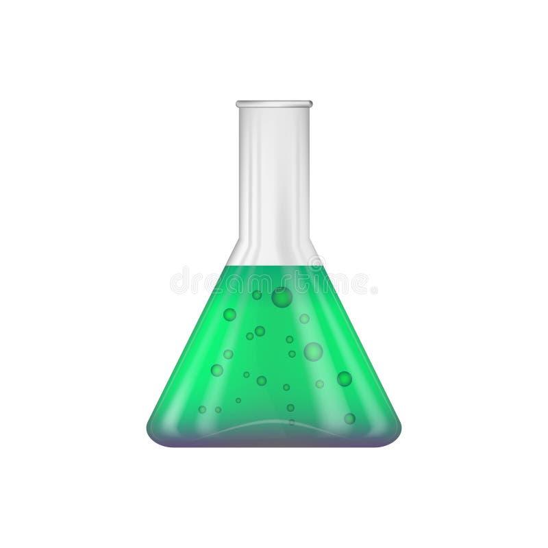 ?cone Uma garrafa química cônica com um verde - reagente roxo para dentro ilustração stock