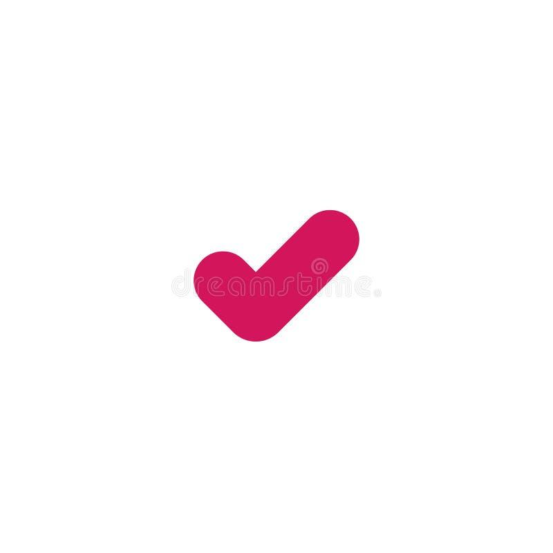 ?cone v?lido do selo Tiquetaque cor-de-rosa ?cone APROVADO liso da etiqueta Isolado no branco Aceite o bot?o ilustração do vetor