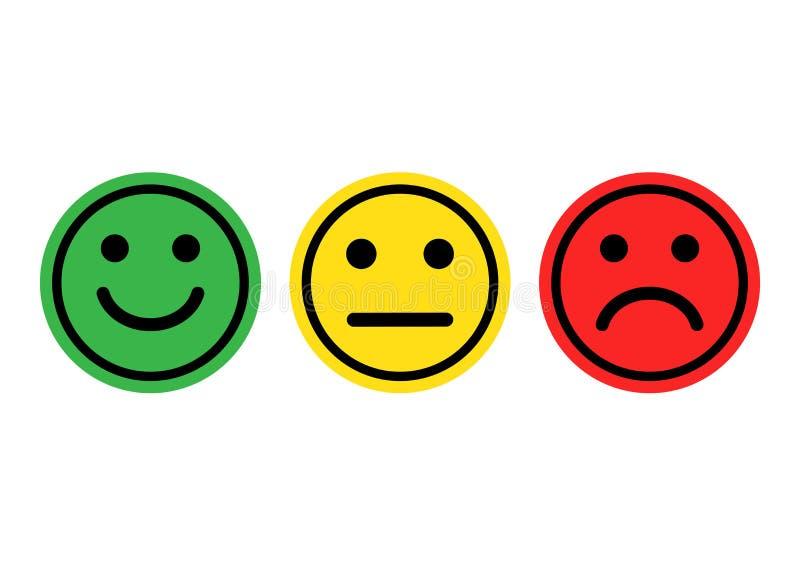?cone verde, amarelo, vermelho dos emoticons dos smiley positivo, neutro e negativo Vetor ilustração royalty free