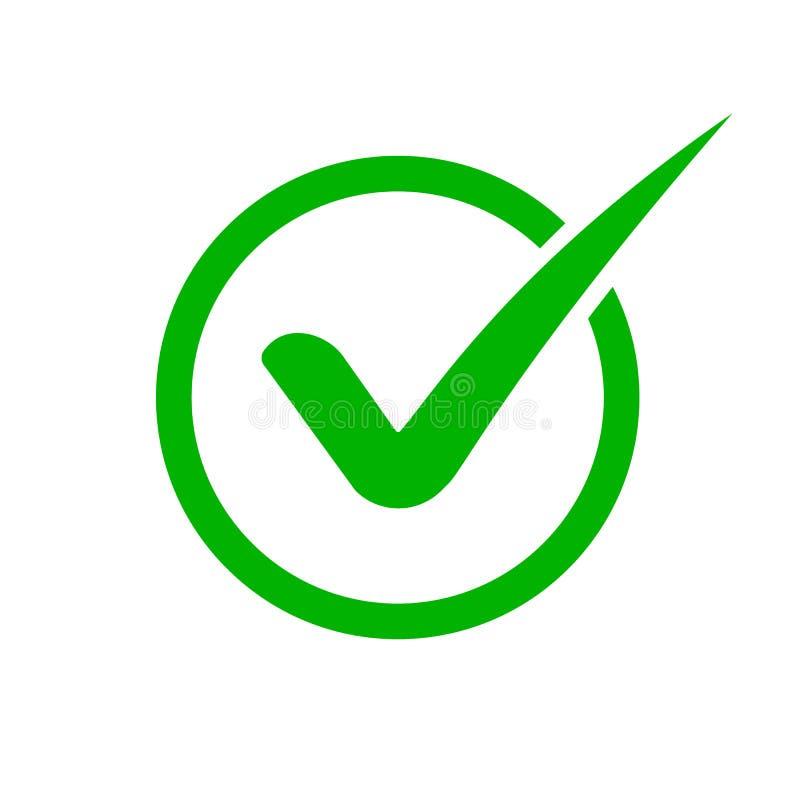 ?cone verde da marca de verifica??o Sinal no círculo para o verde do ícone do tiquetaque da lista de verificação colorido no esti ilustração stock