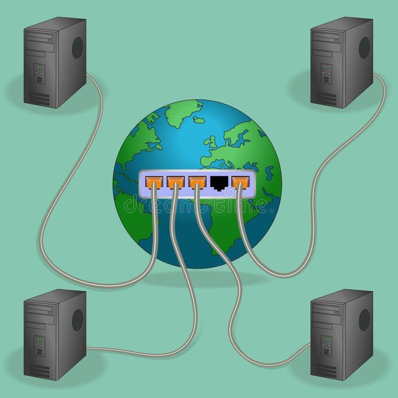 Conectado ao mundo ilustração do vetor