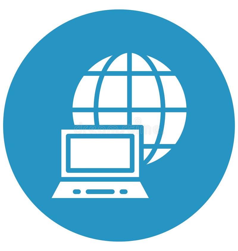 Conectado con el icono aislado Internet del vector que puede modificarse o corregir fácilmente conectado con el icono aislado Int stock de ilustración