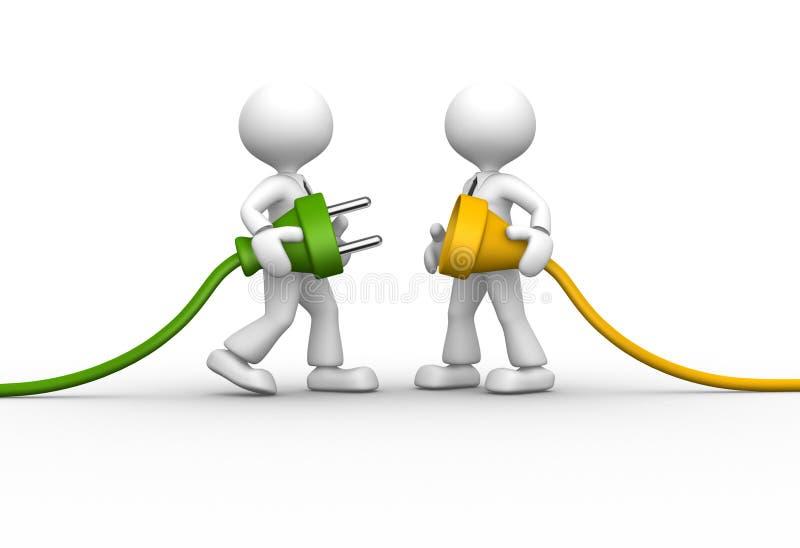 Conectando um cabo. ilustração stock