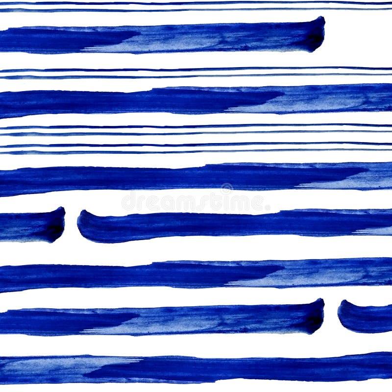 Conecte和水彩油漆厚实的蓝色条纹在白色背景的 免版税库存照片