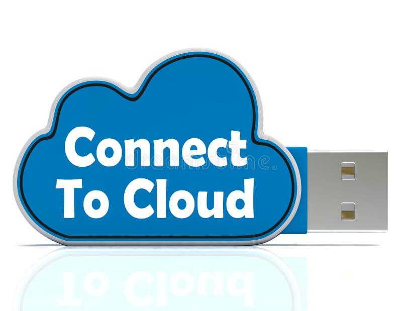 Conecte aos meios da vara da memória da nuvem em linha ilustração do vetor