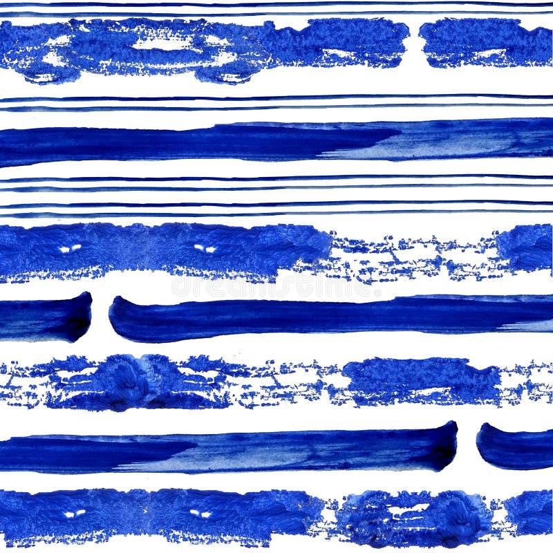Conecte e bande blu spesse della pittura dell'acquerello su fondo bianco royalty illustrazione gratis
