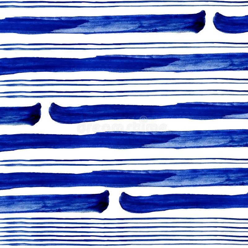 Conecte e listras azuis grossas da pintura da aquarela no fundo branco ilustração do vetor