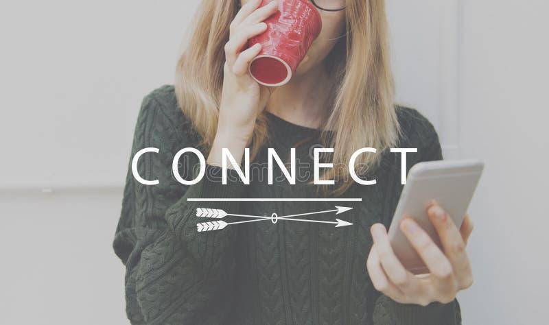 Conecte el concepto de la interconexión del acceso de los vínculos del establecimiento de una red fotos de archivo libres de regalías