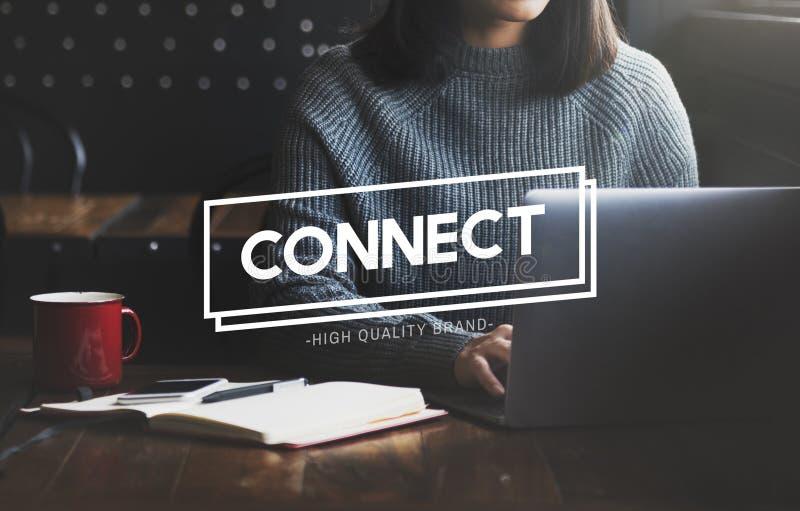 Conecte el concepto social de la comunicación de la interconexión del establecimiento de una red foto de archivo