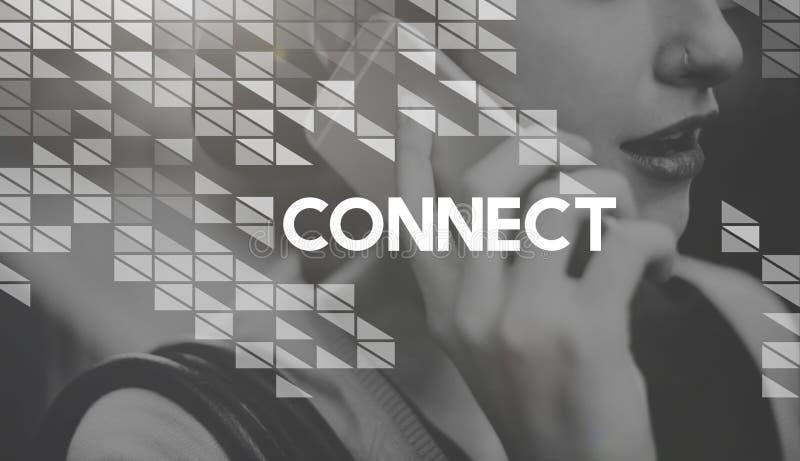 Conecte el concepto social de la comunicación de la interconexión del establecimiento de una red fotos de archivo libres de regalías