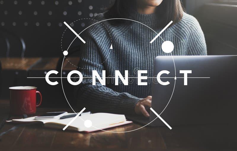 Conecte el concepto social de la comunicación de la interconexión del establecimiento de una red foto de archivo libre de regalías